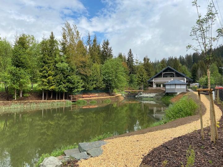 Ubytování v les s výhledem na rybník