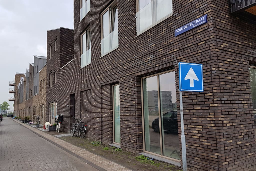first house in the street with typical Dutch bike parking