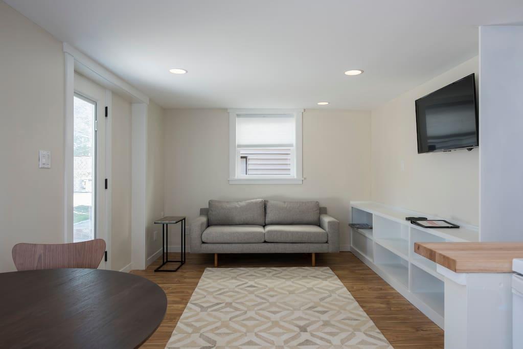 Comfy sofa and TV area