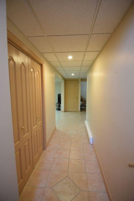 Entrance hallway with big entry closet