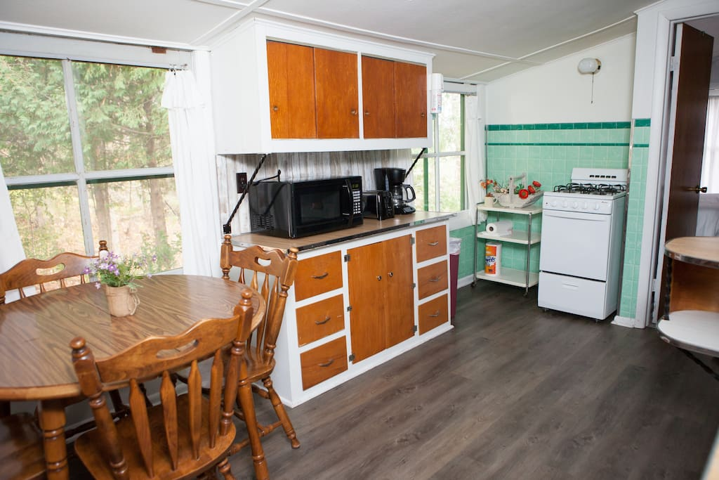Eat in kitchen with views of the woods.