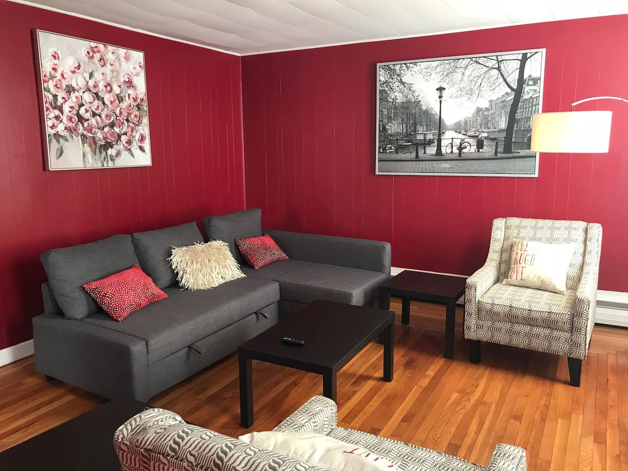 """Living room with queen sectional sleep  sofa and 55"""" 4K Roku smart tv with high speed Wifi"""