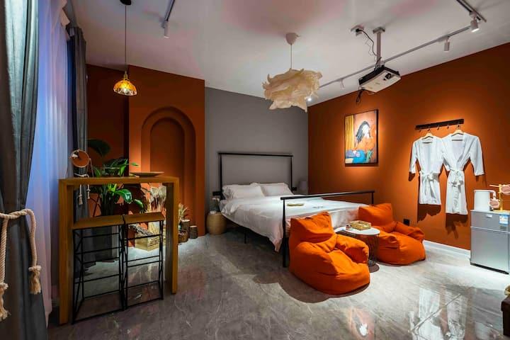 摩洛哥风情=24小时地暖~回民街中心+钟鼓楼+影院级120寸投影+懒人沙发+浴袍~网红民宿*小红书推