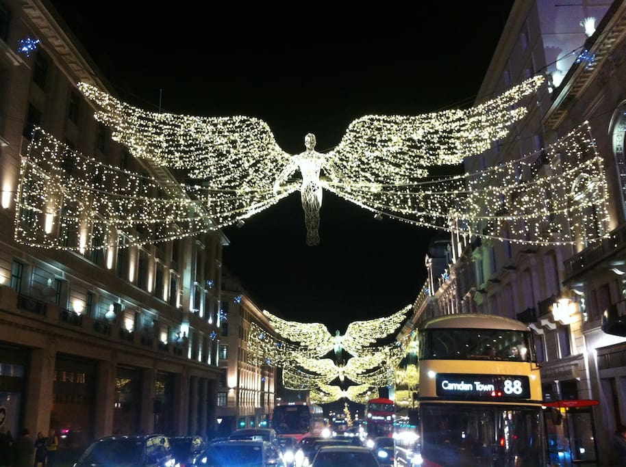 Christmas lights of Regent Street & Covent Garden minutes away by foot.