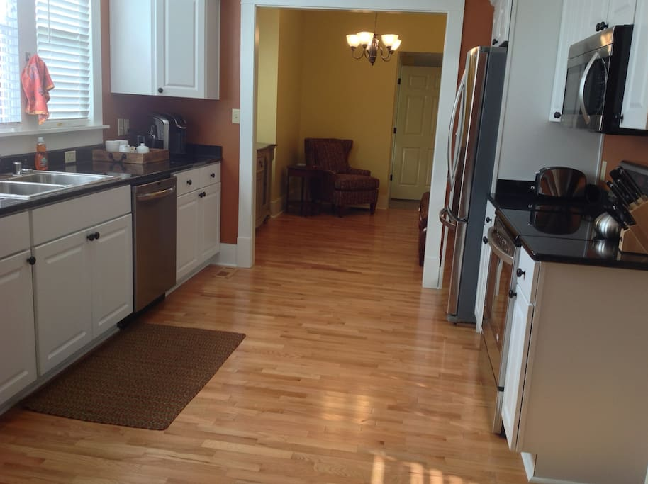 1st floor, fully stocked and updated kitchen with stainless appliances.