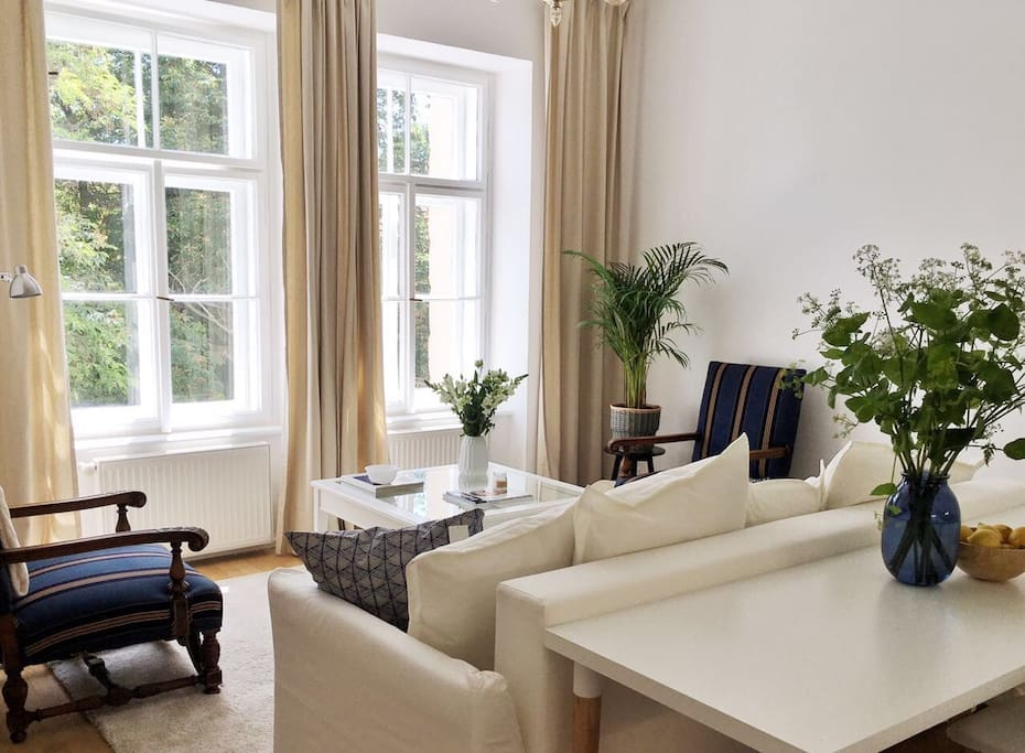 Bright and spacious living room with convertible sofa