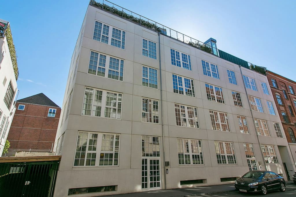 The beautiful old warehouse building converted to new apartments