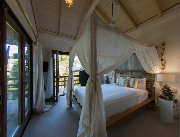 Cozy bedroom with sea view