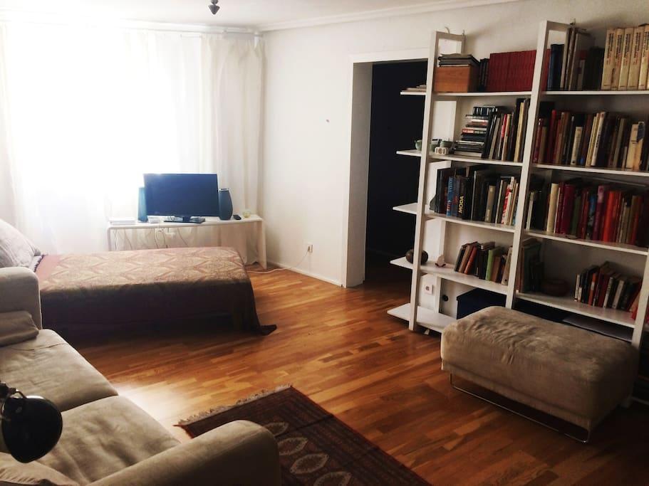 Salón común con cama individual / Common room with single bed.