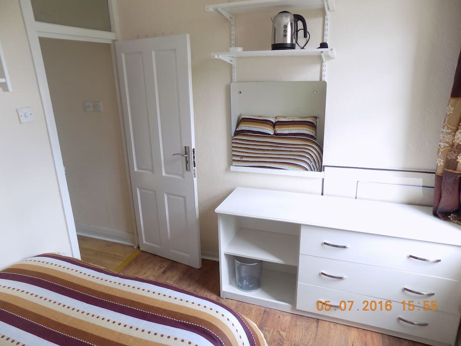 You'll have a wardrobe, dressing table, bedside table, copious shelving and bed with large draws - ample storage space.
