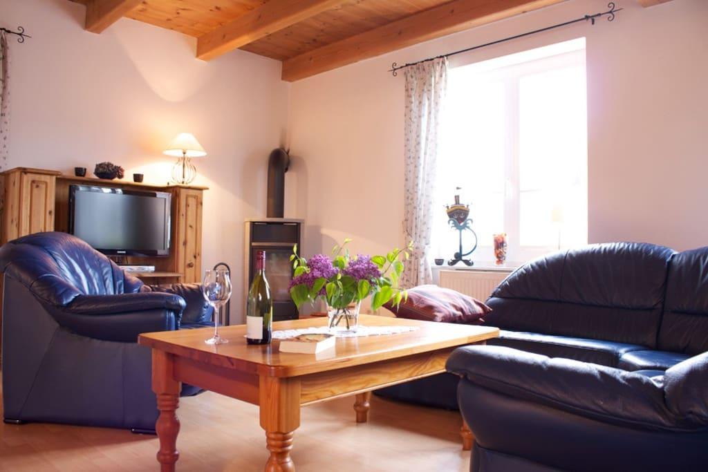Wohnbereich mit offenem Essbereich, Lese- und Sofaecke und TV, Stereoanlage, Kaminofen und einer großen Auswahl an Büchern
