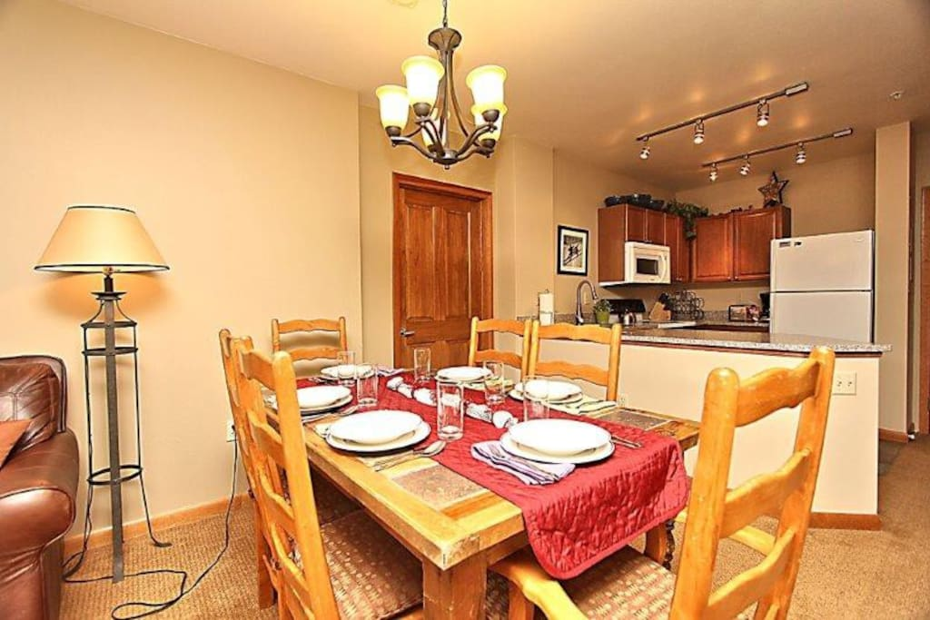 Host your family and friends at the dining table seating six