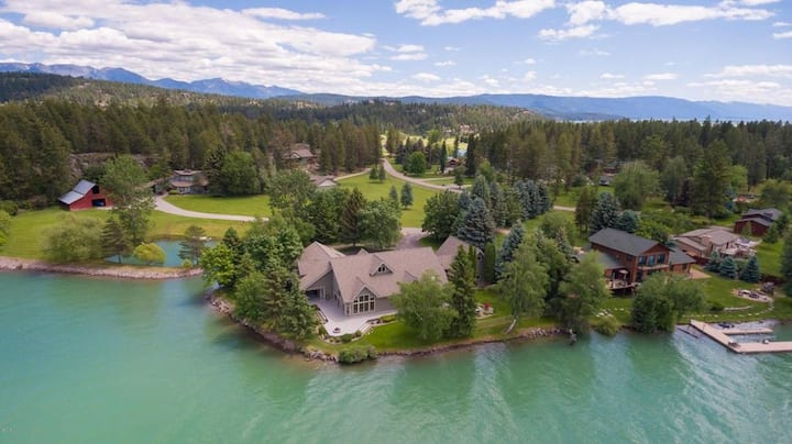 New Listing! Stunning Bigfork Lake Property! Private boat launch, two docks and sleeps 18!!