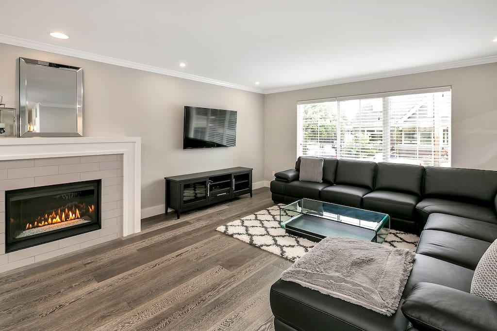 Sink into the large sectional and relax with gas fireplace, HDTV, and Wifi