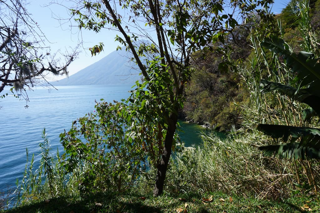 View of Lake Atitlan and volcanoes