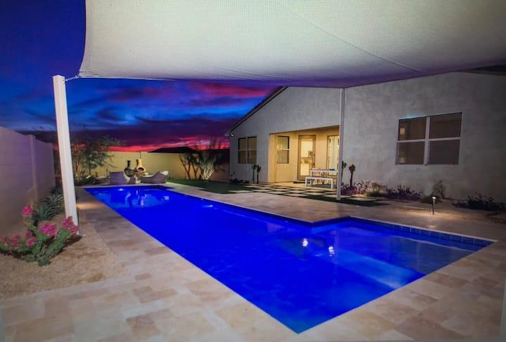 New, fun modern home with heated pool