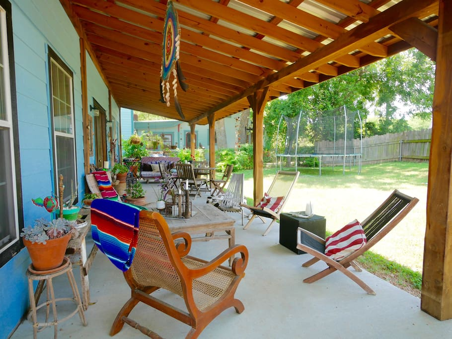 Lots of seating on the porch, as well as picnic table...spend much of my time outside!