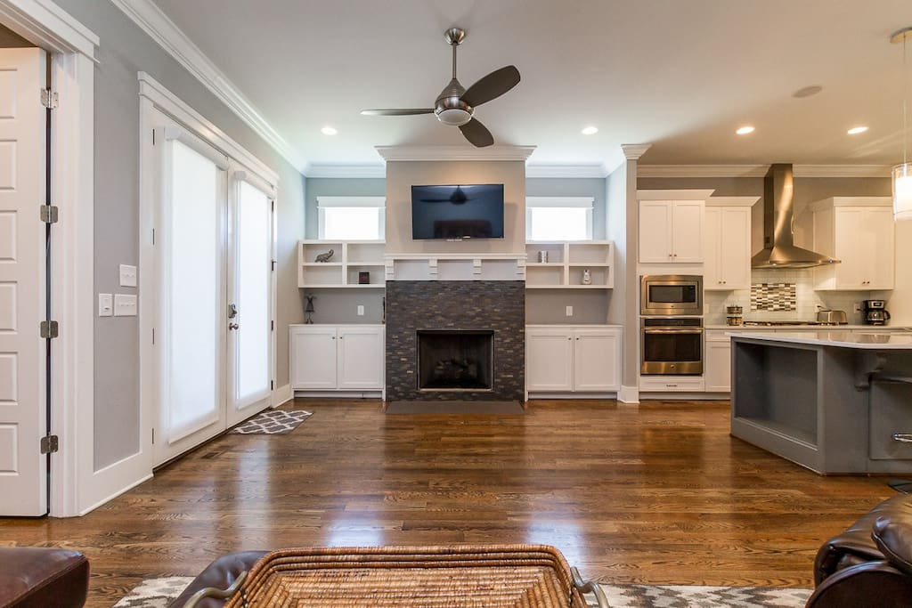 Recessed lighting and hardwood floors add to the elegance.