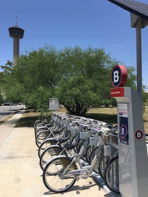 B-cycle station on the corner of the complex