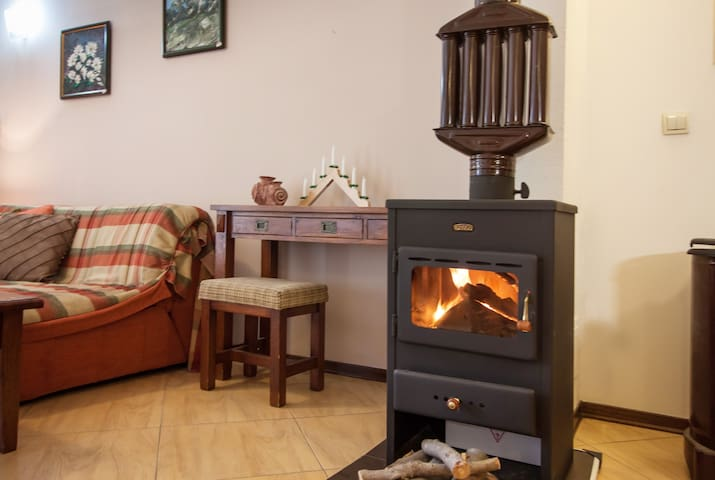wood burning stove on in winter generally
