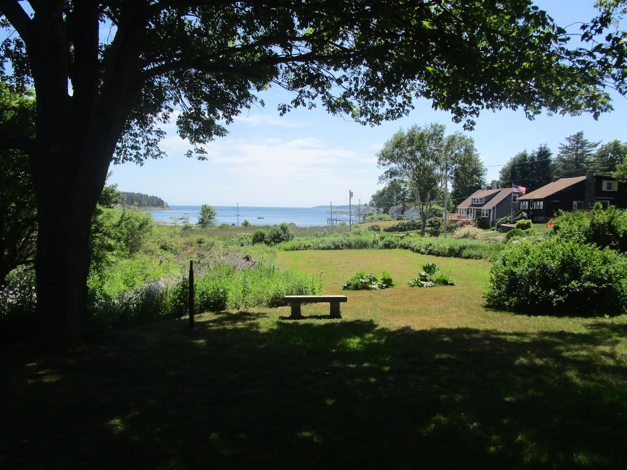 This is your view of Lowell's Cove. Just a short walk to the shore.
