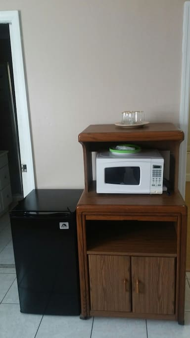 microwave and mini fridge