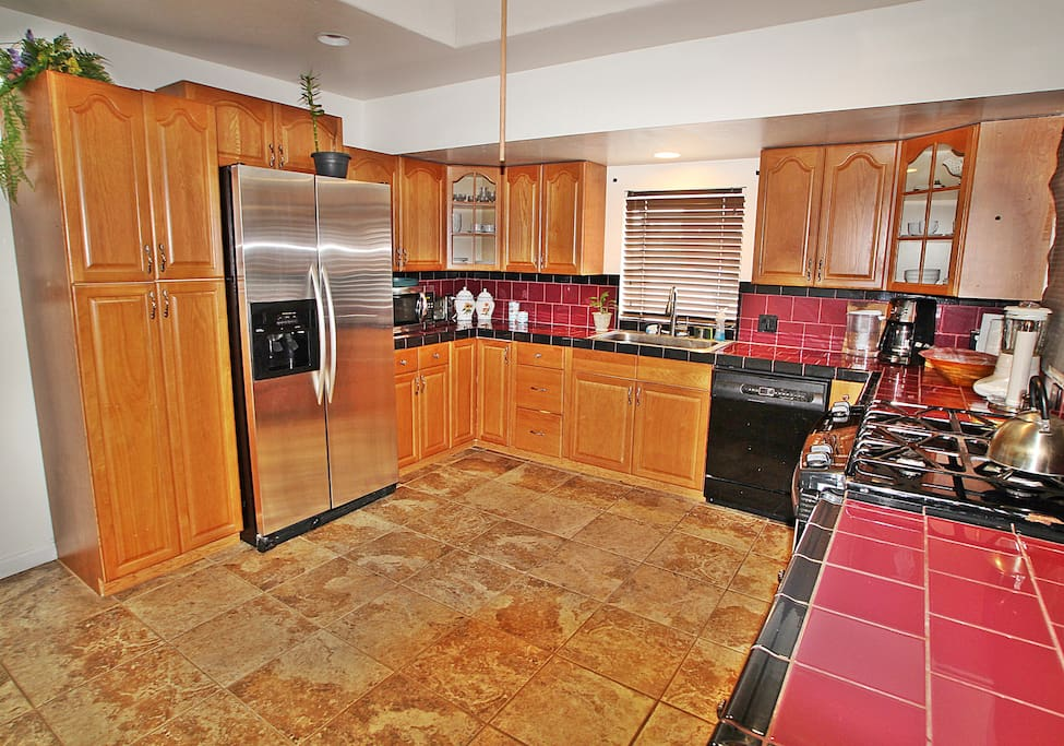 Stainless steel Appliances,  Open and bright kitchen with a skylight