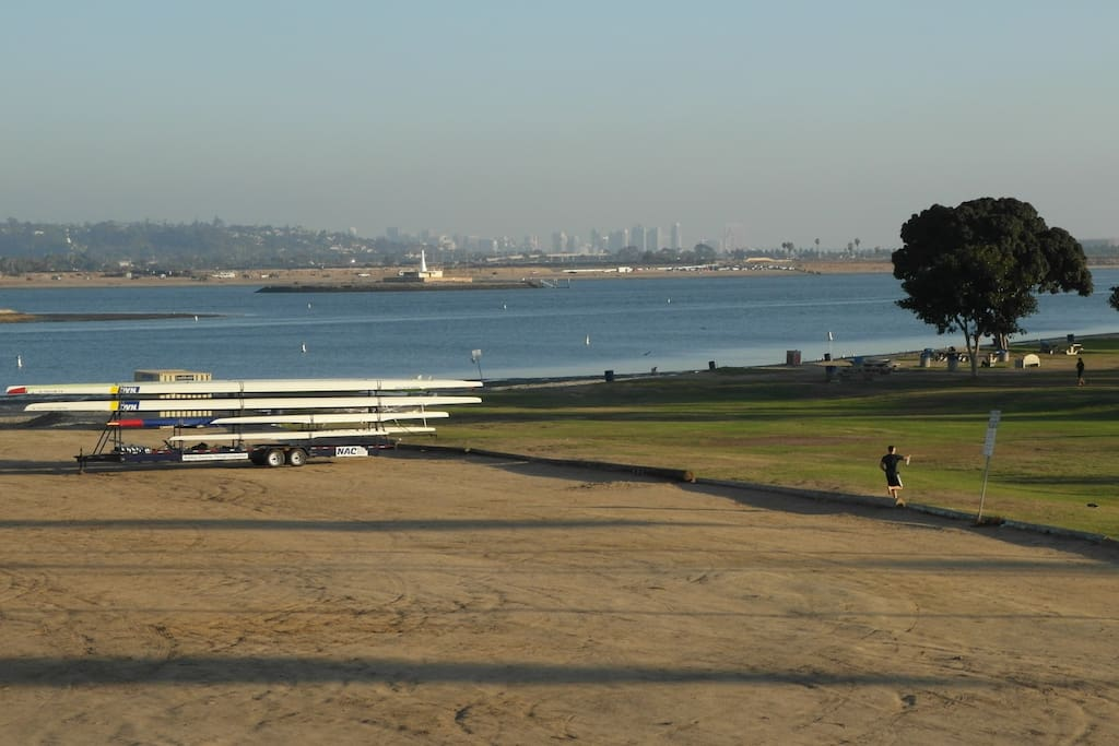 View from the end of the block, of Mission Bay, and downtown