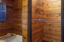 Unique wooden shower, sky light