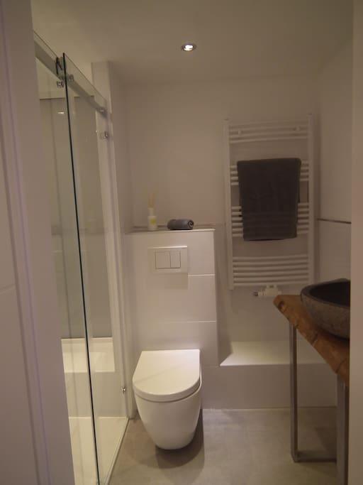 Tolles Bad in gehobener Ausstattung mit grosser Dusche