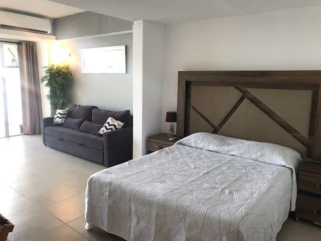 Hermosa Suite, con vista al mar y playa privada.