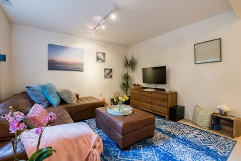 In the evenings, enjoy watching movies via Roku on a flat screen tv or simply relax in a tranquil environment listening to your favorite music. (Wide angle lens photo)