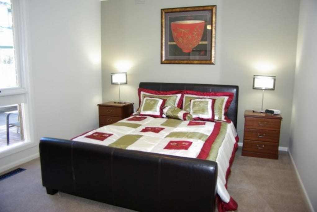 The master bedroom has a queen bed in all our Sandyside properties