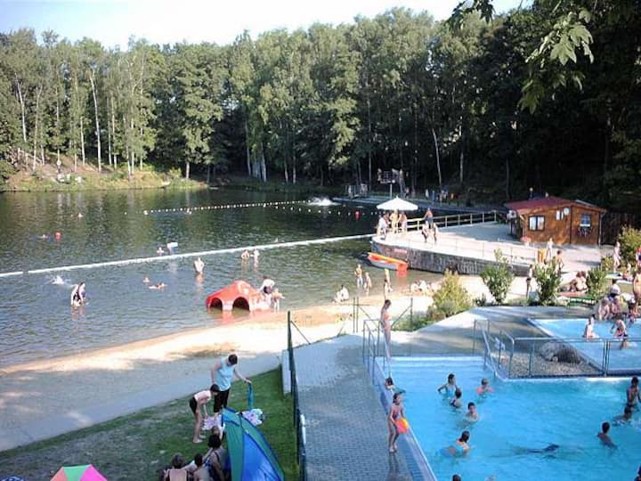 The near the lake and swimming pool