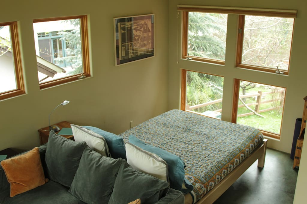 queen bed and south windows