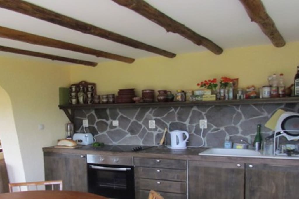 Oldie worldie kitchen with modern appliances