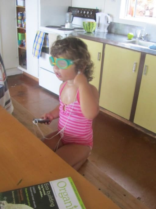 Getting ready to go swimming- the kitchen..