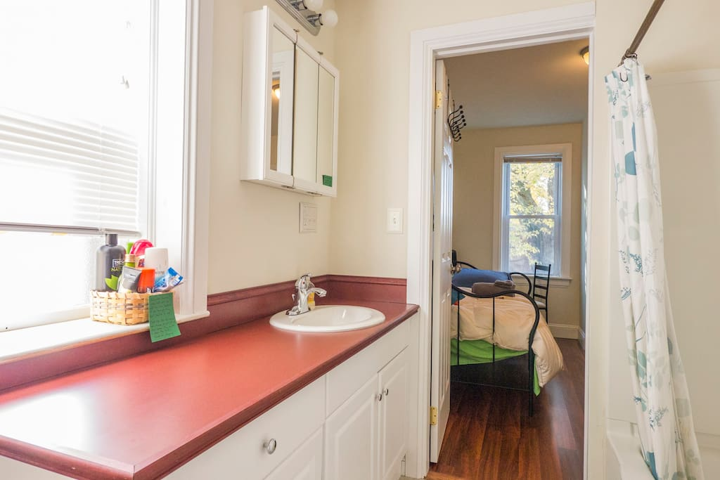 This bathroom is shared with housemates, but we keep it clean for you.