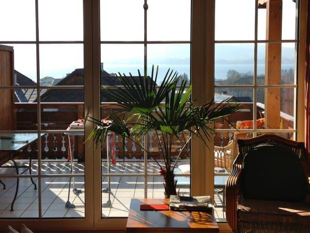 Blick vom Wohnzimmer auf Terrasse und See