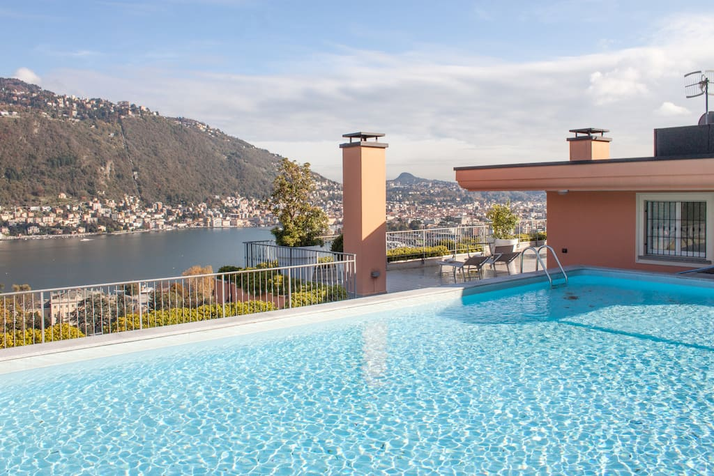 Private pool terrace with Como view