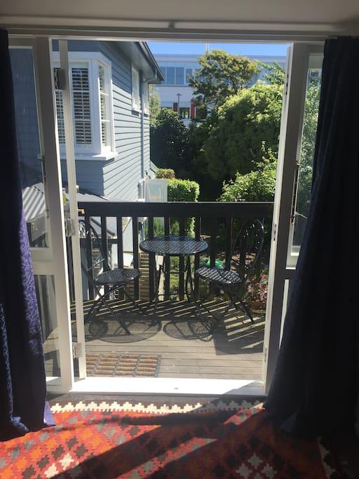 Sunny private balcony