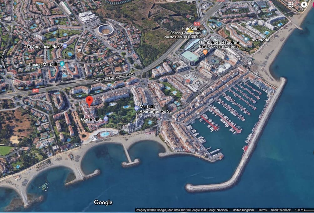 Location of our beach front apartments, minutes walk to the marina Puerto Banus.