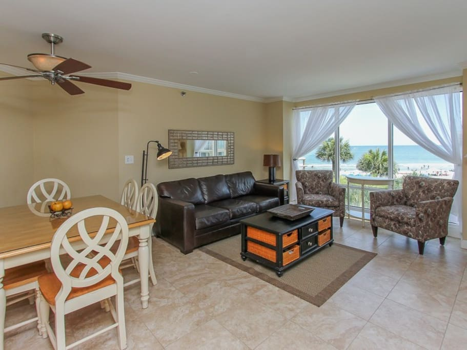 Dining Area with Seating for 6 Offers Ocean Views at 1301 Villamare