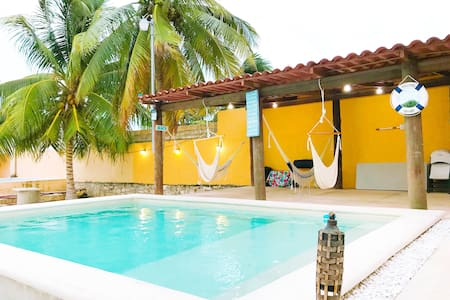 Beach house with Swimming pool & air conditioning