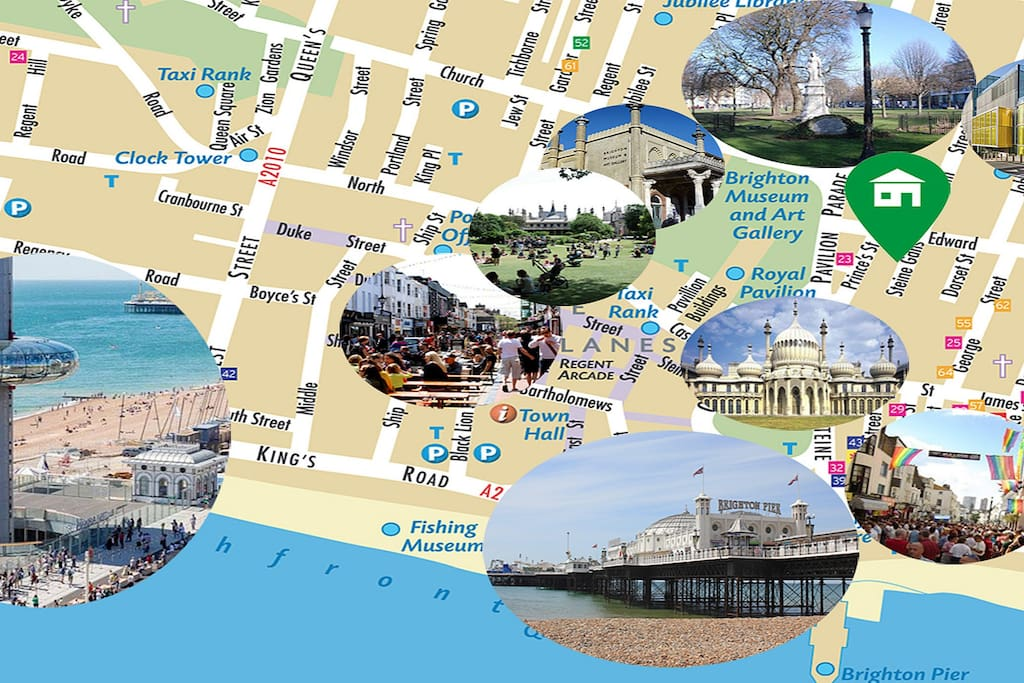 Map of the attractions in 2 to 10 min walking distance