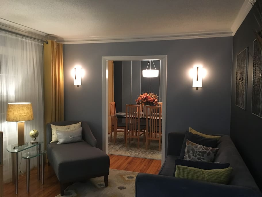 Living room to gather for family time and conversations .