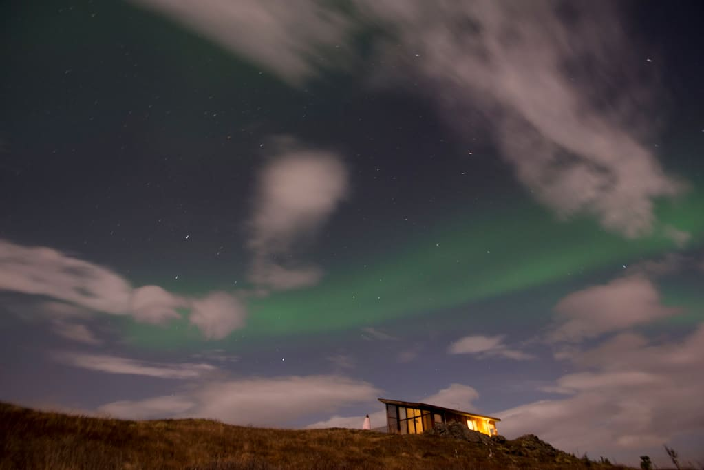 Northern lights above the summerhouse