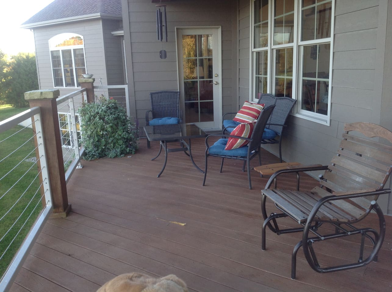Relax on the back deck overlooking the pond.
