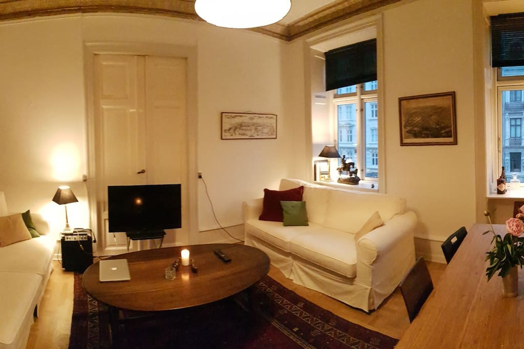 living room. picture is panorama, so it looks a little compressed