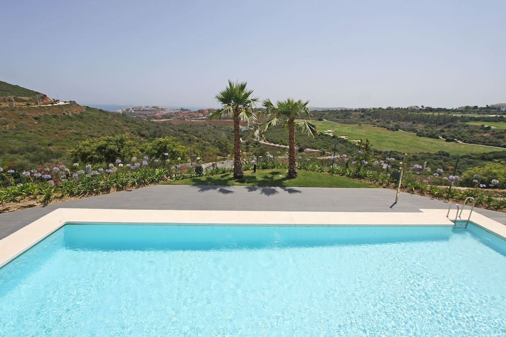 Pool and Mediterranean view from the terrace